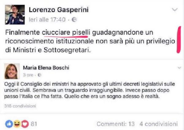 """Boschi esulta per le unioni civili, leghista su Fb: """"Adesso ciucciare..."""""""