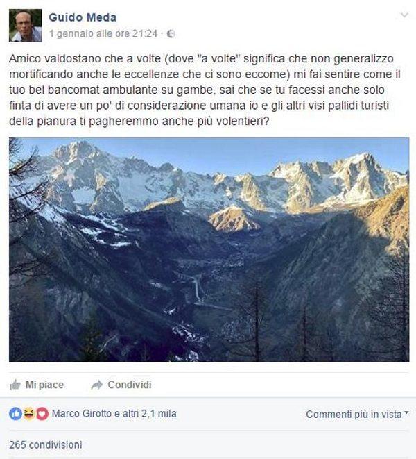 """Guido Meda contro i valdostani: """"Maltrattano i turisti"""". Scoppia la polemica"""