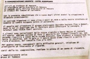 Rigopiano: prefettura Pescara chiamò Bruno Di Tommaso alle 17.40 del 18 gennaio