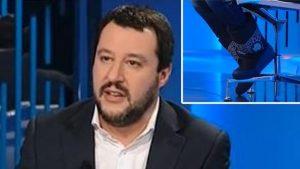 """Matteo Salvini coi doposci da Lilli Gruber. """"Sciacallo a piede libero"""""""
