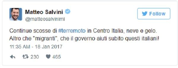 """Terremoto, Salvini: """"Altro che migranti, governo aiuti subito italiani"""""""