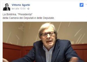 """Sgarbi contro la Boldrini"""" Cara Presidenta Boldrina, sei una capra!"""" VIDEO"""