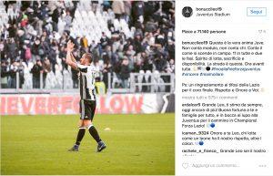 """Tifosi Lazio, Bonucci su Instagram: """"Grazie del coro per il piccolo Matteo"""""""
