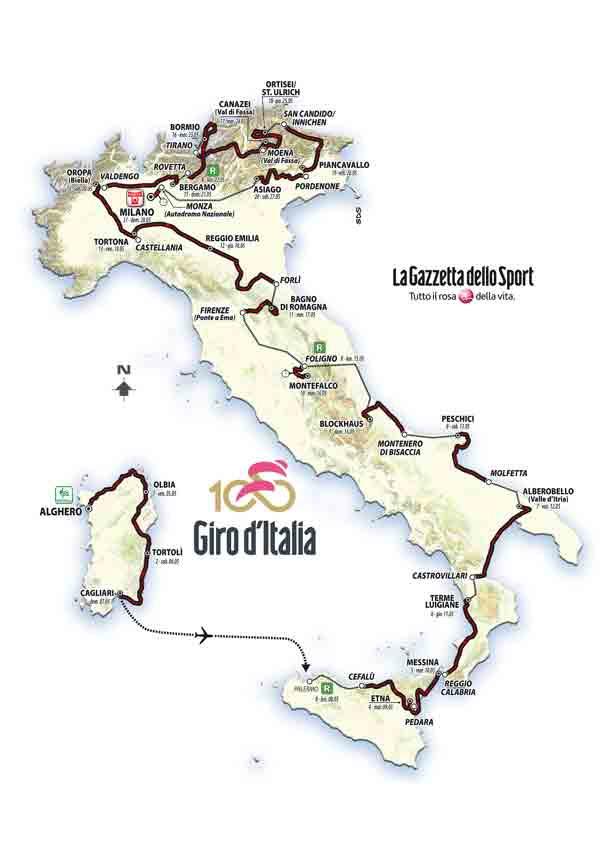 Giro d'Italia 2017: il percorso ufficiale, le tappe, il calendario
