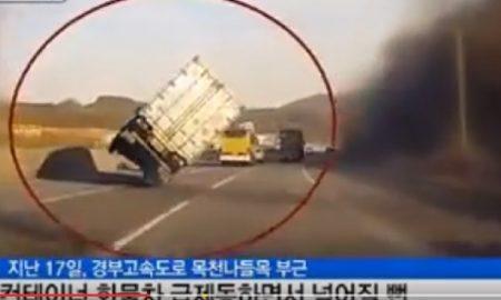 Camion su due ruote: la manovra evita la tragedia