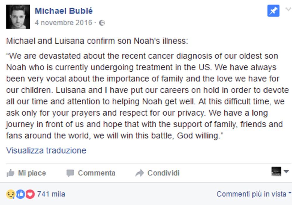 Michael Bublé, il figlio Noah sta guarendo dal tumore