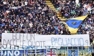 """Inter-Atalanta, striscione """"Buffon dacci le quote...Pagliaccio"""" FOTO"""