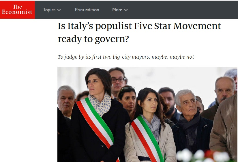 """Economist: """"M5s è pronto per governare?"""""""