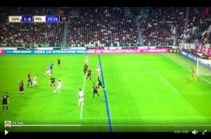 La posizione di partenza di Benatia in occasione del gol del vantaggio della Juve (foto Sky Sport)