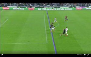 La posizione di partenza di Bacca in occasione del gol del pareggio del Milan