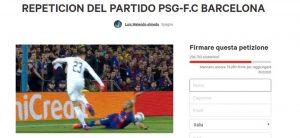 Barcellona-Psg da ripetere, petizione online: è boom di firme