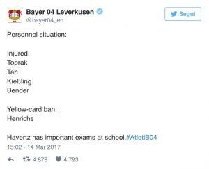 Kai Havertz salta Atletico Madrid-Bayer Leverkusen per esame a scuola