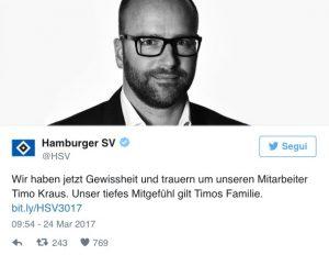 Timo Kraus, direttore marketing Amburgo trovato morto