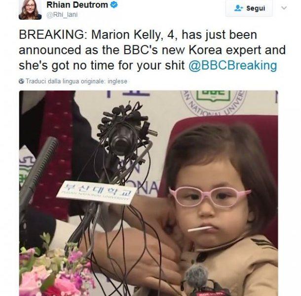 Tutti pazzi per Marion la bimba che ha interrotto l'intervista del padre star del web
