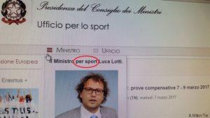 """Luca Lotti """"Ministro PER sport"""": la gaffe sul sito del governo"""