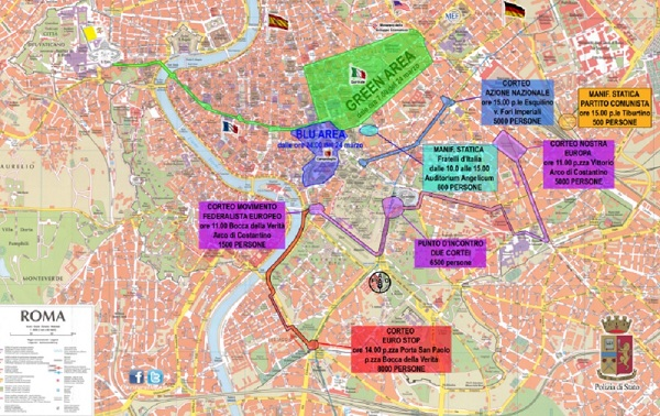 Cortei Roma 25 marzo, mappa: strade chiuse a auto e pedoni, bus fermi