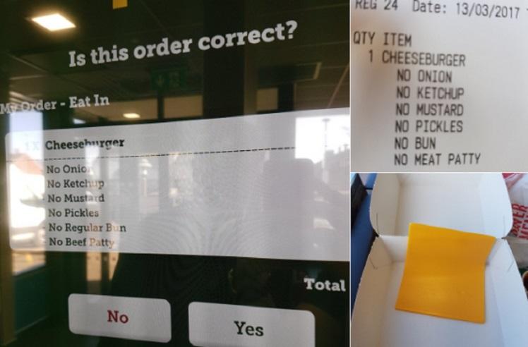 Va al McDonald's e ordina un hamburger senza hamburger. Arriva una sottiletta FOTO