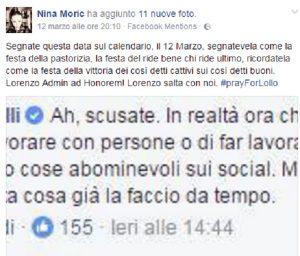 Nina Moric contro Selvaggia Lucarelli su Fb per i post volgari del fidanzato
