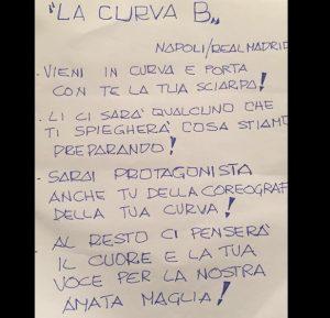 Napoli-Real Madrid, coreografia Curva B: il volantino su Facebook