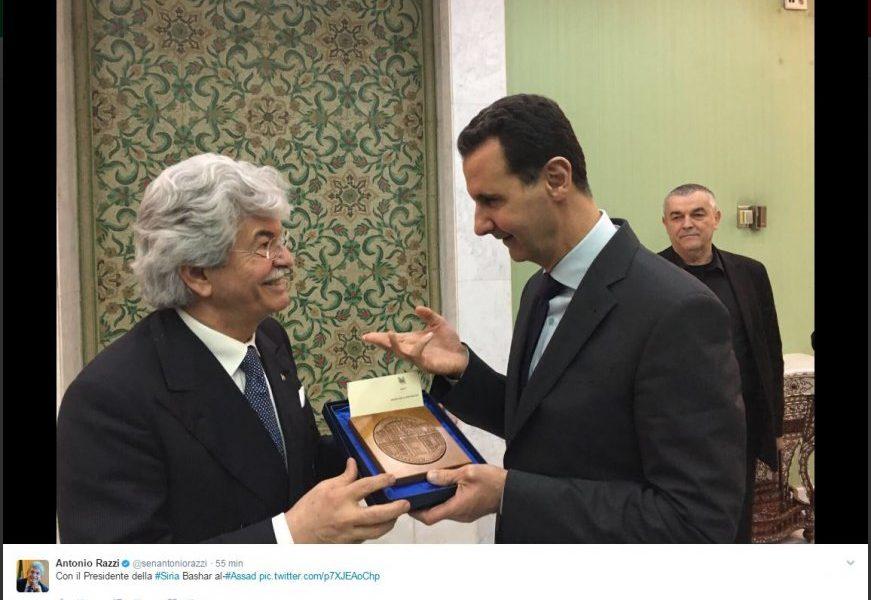 Antonio Razzi in missione diplomatica in Siria e scatta il selfie con Assad02