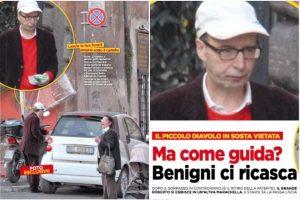 Roberto Benigni parcheggia in sosta vietata a Roma...niente multa