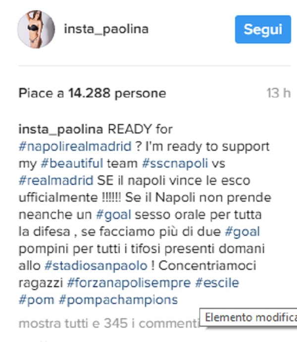"""Paola Saulino su Instagram: """"Se il Napoli non prende gol contro il Real..."""""""