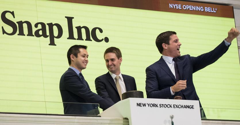 I co-fondatori di Snapchat:da sinistra Bobby Murphy ed Evan Spiegel