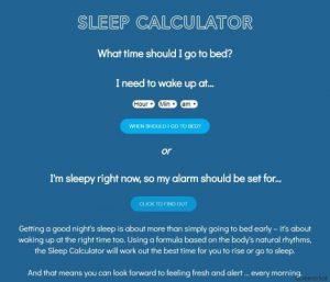 Calcolatore di sonno ti dice a che ora andare a letto per essere riposato