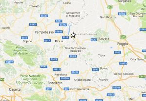 Terremoto vicino Foggia: scossa 3.4 a San Marco la Catola, sentita a Lucera e Campobasso