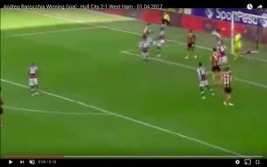 Andrea Ranocchia video gol Hull City-West Ham 2-1