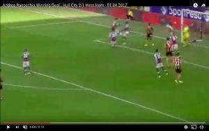 Andrea Ranocchia video gol Hull City-West Ham 2-1