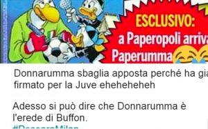 Donnarumma-Paperumma su Topolino: ironia sul web FOTO