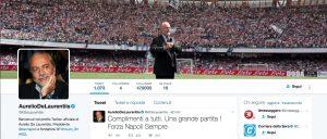 """Aurelio De Laurentiis: """"Grande partita contro Juve, forza Napoli"""""""