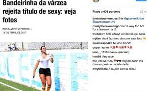 Denise Bueno, guardalinee con t-shirt trasparente e niente sotto: tutti la guardano FOTO