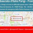 L'annuncio pubblicato su Twitter per gli italiani a Parigi