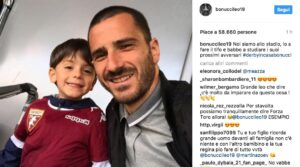 Torino, Leonardo Bonucci allo stadio: figlio con maglia granata