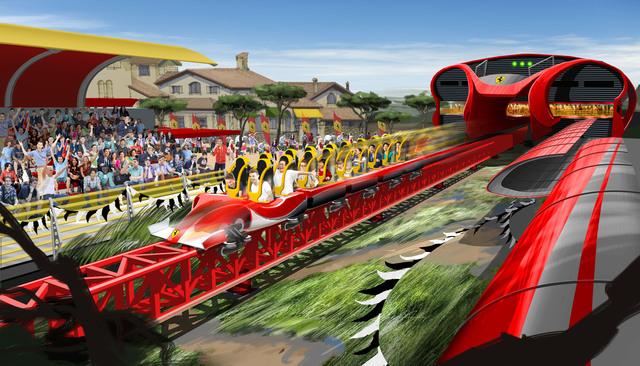 Tarragona (Spagna), montagne russe a forma di Ferrari2