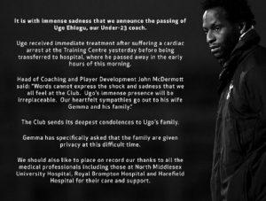 Ugo Ehiogu, il comunicato del Tottenham