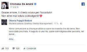 """Cristiano De André, Ottavia Pojaghi Bettoni spiega: """"Botte? Solo una spinta involontaria"""""""