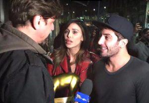 Belen Rodriguez e Andrea Iannone ricevono il Tapiro d'oro da Staffelli
