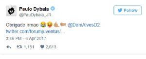 Dybala ringrazia Dani Alves per averlo difeso da Hamsik
