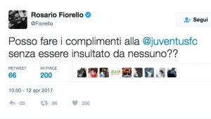 """Fiorello su Twitter: """"Posso fare i complimenti alla Juventus senza essere insultato?"""""""