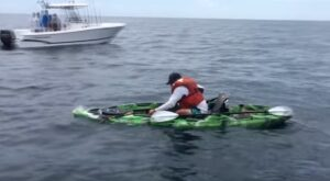 Mentre è a pesca di cernie, all'amo abbocca uno squalo toro