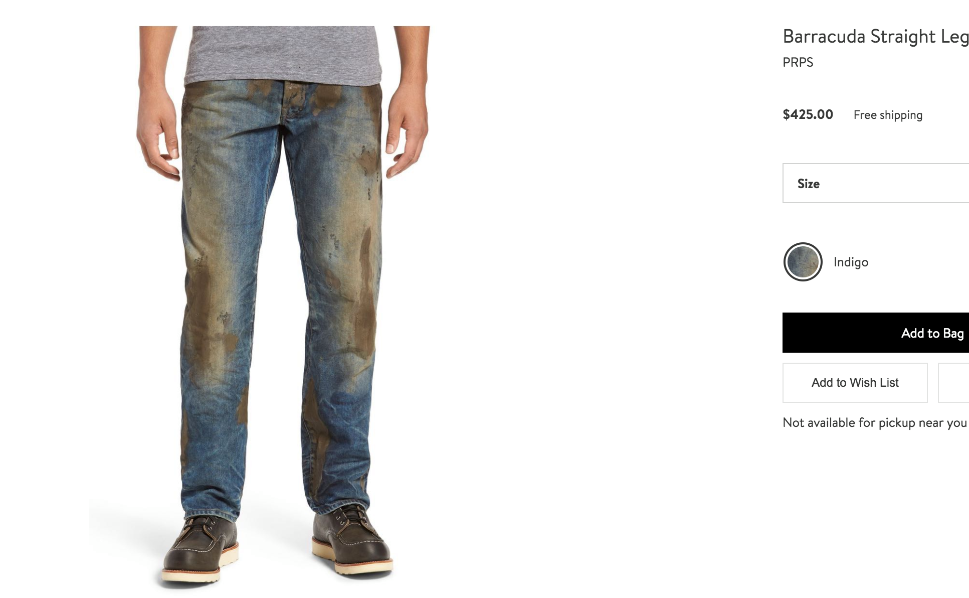 Jeans sporchi di fango (falso) venduti a 420 dollari