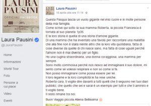 Laura Pasuini: morta la nipotina Francesca, figlia della cugina. Il post su Facebook