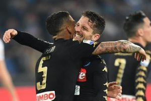 Napoli-Udinese 3-0, Allan, Mertens e Callejon. I tre marcatori della partita nella foto Ansa