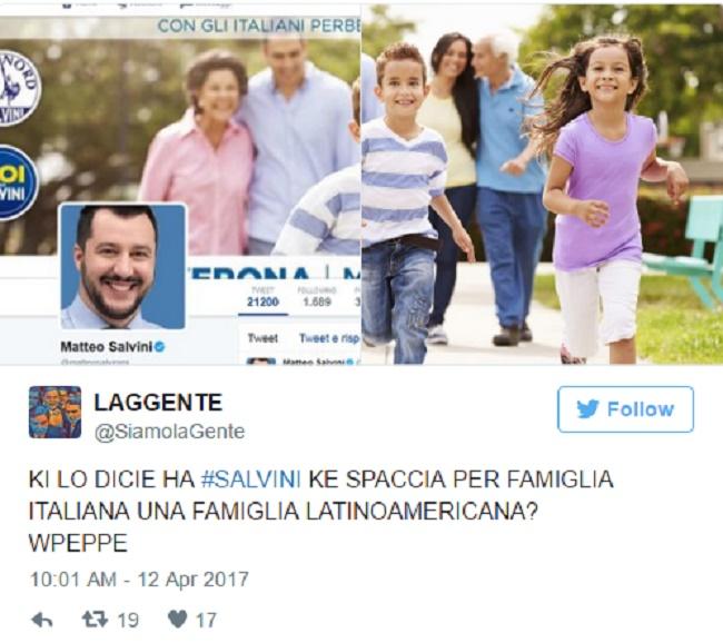 """Matteo Salvini: """"Con gli italiani perbene"""". Peccato che nella FOTO c'è una famiglia latino-americana"""