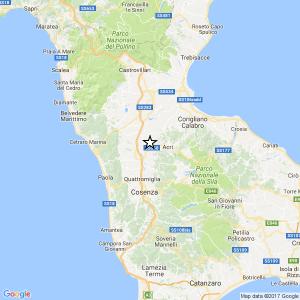 Terremoto: scossa magnitudo 3.1 a Luzzi, provincia di Cosenza