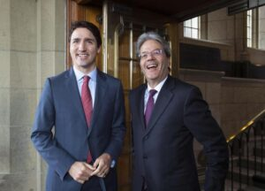 """Gentiloni da Trudeau: """"Insieme su migranti e libero scambio"""""""