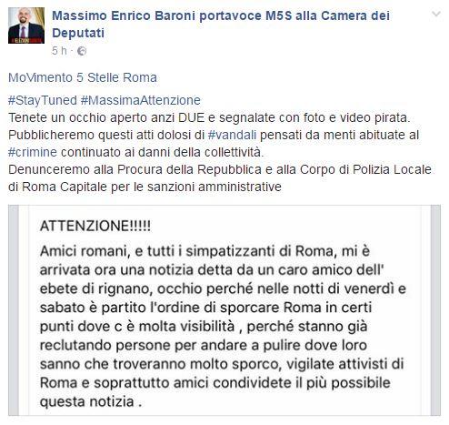 """Rifiuti, Massimo Baroni (M5s) lancia l'allarme: """"Dal Pd l'ordine di sporcare Roma"""". Poi si accorge della bufala 01"""